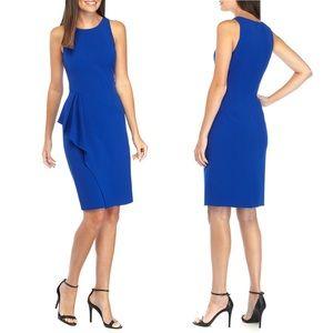 Vince Camuto Blue Side Ruffle Crepe Dress 6P